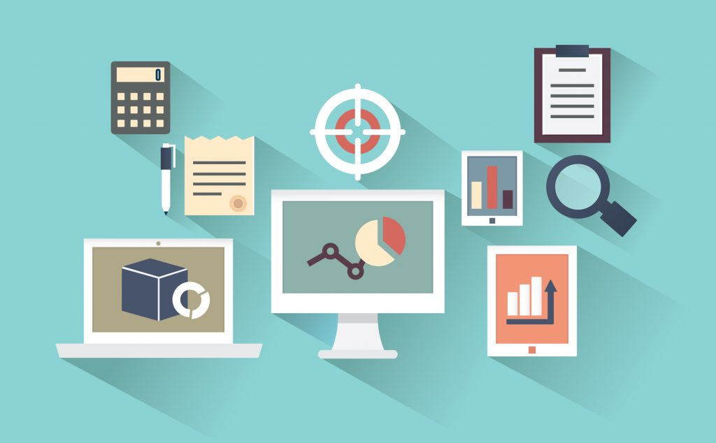 Flat design concept of mobile devices and documents with long shadows - vector illustration